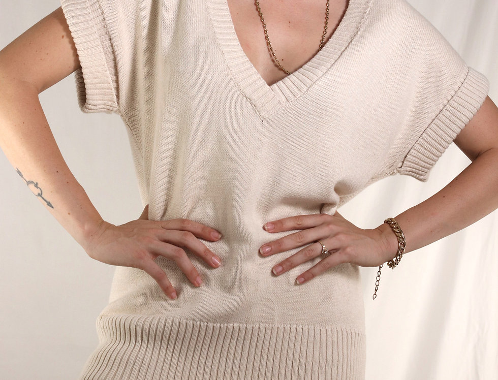 Cotton Cuff Sleeve Pullover Plunge Sweater
