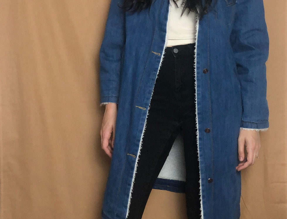 Denim Fur Lined Duster (L)