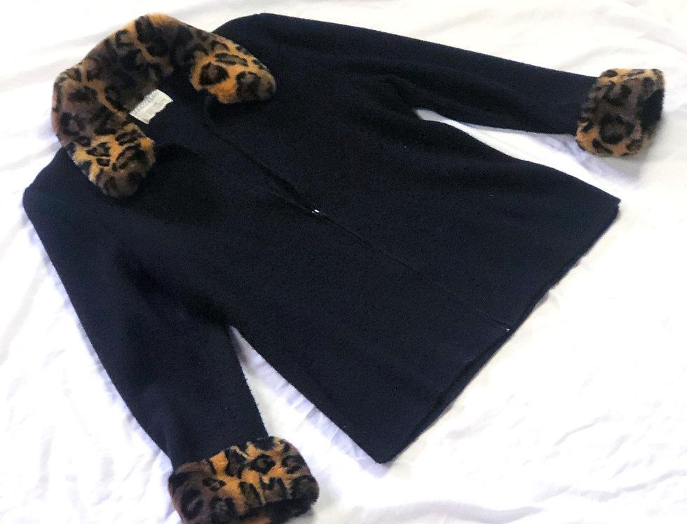Leopard Cuff Zippered Cardigan (L)