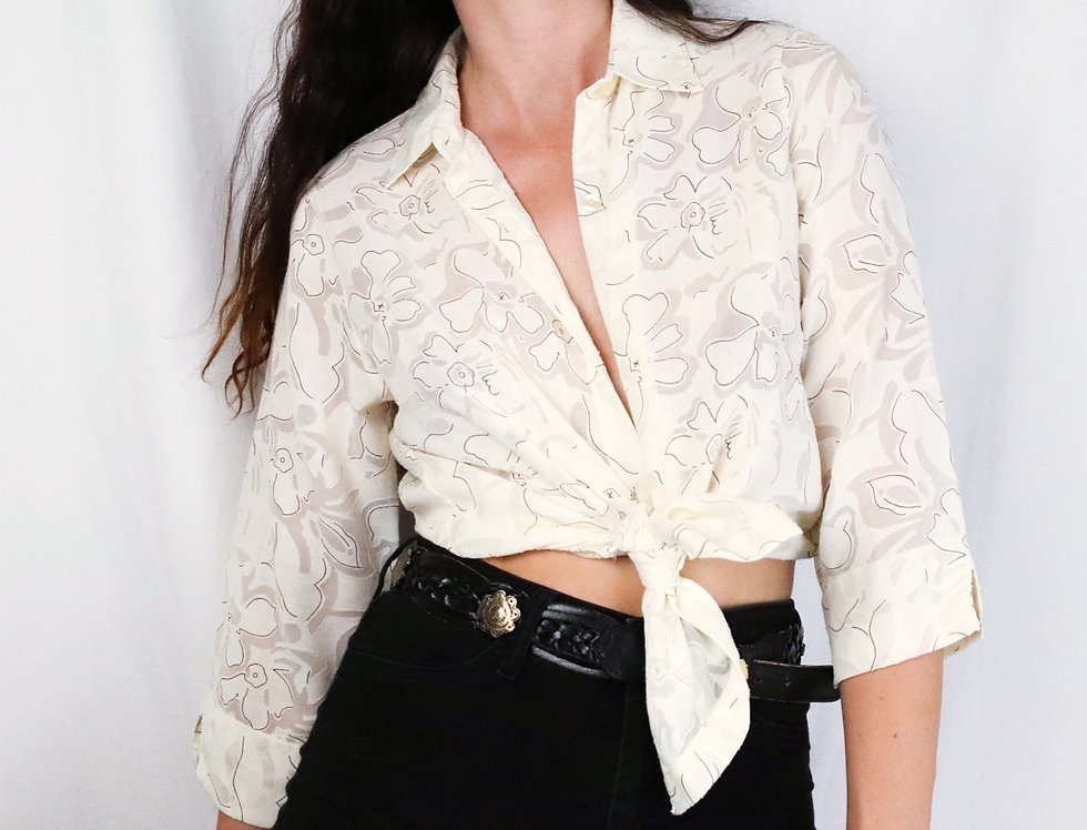 Semi-Sheer Tropical Button Up in Cream (M)