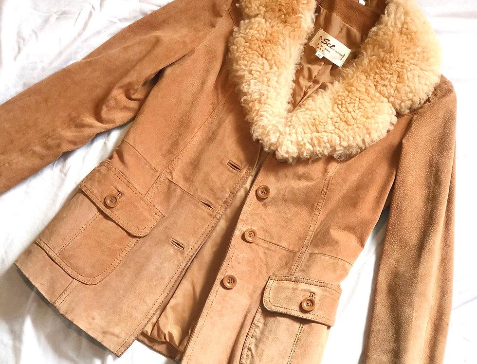 1970's Leather Fur Collar Jacket (L)