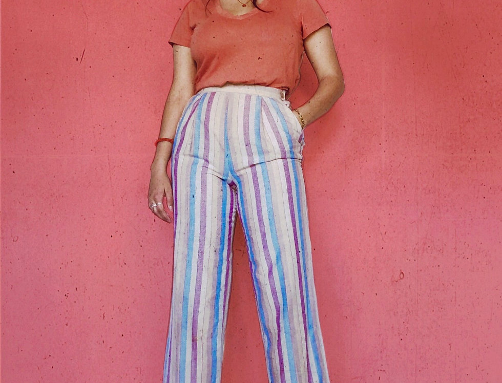 Blue Cheer High Waisted Striped Pant (M-L)
