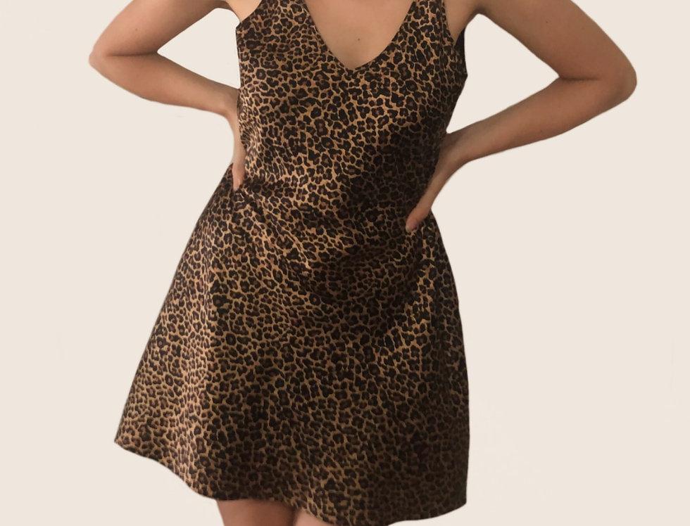 Silk Open Back Leopard Nightgown (L)