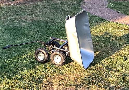 Garden trolley 4 wheel tipping dump wheelbarrow cart padded handle 80 litre