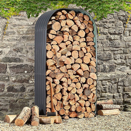 Outdoor metal wood store