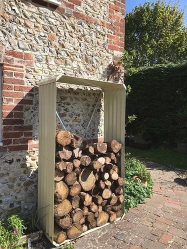 Wood store cream galvanised metal  180cm x 105cm x 45cm