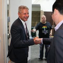 Presidential candidate, Gary Johnson shaking hands.jpg