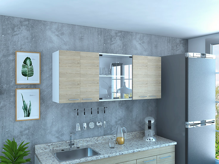 Glass 150 Upper Kitchen Cabinet (Wall Cabinet)