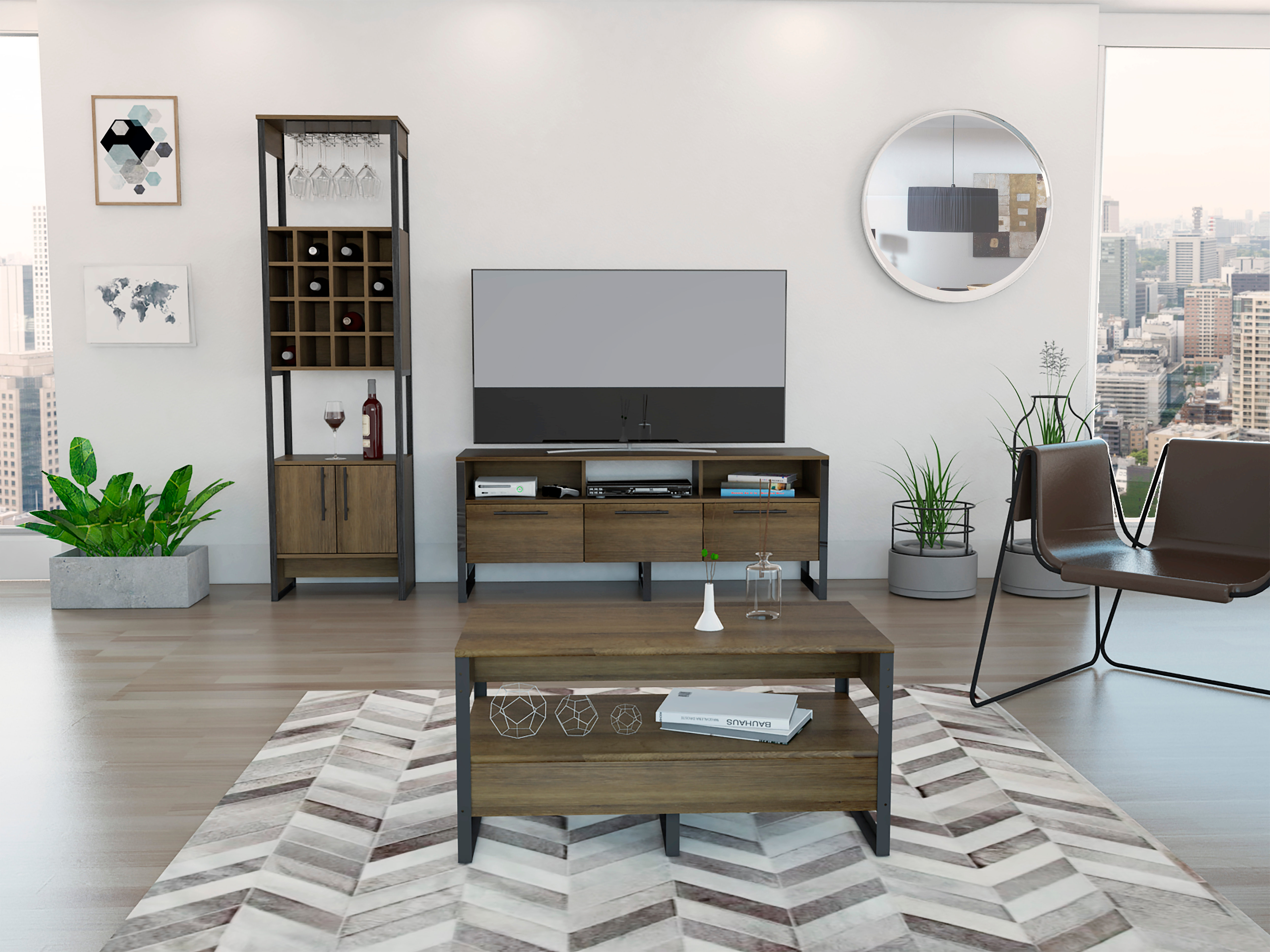 3 PC Living Room Set Magnum - Includes Bar Cabinet + Tv Stand + Coffee Table