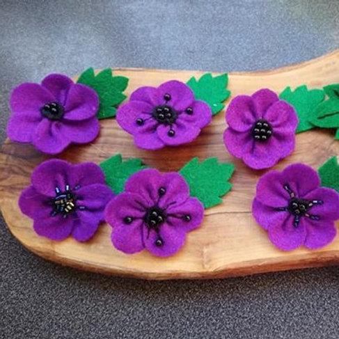 Small felt purple poppy