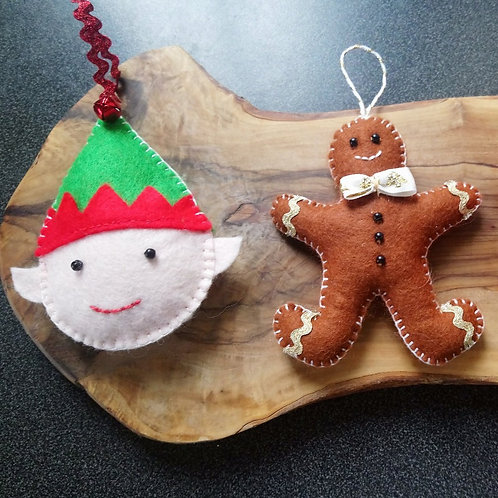 Elf & Gingerbreadman decoration