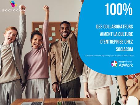 Sociacom reçoit la certification Happy at Work 2021 !