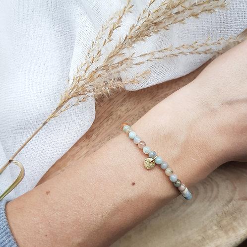 Armband Amazonit für intuitive Kommunikation,  stärkt die Wahrheit & Lebenskraft