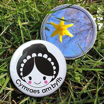 Pocket Mirror - Cymraes am Byth - Welsh Lady Forev