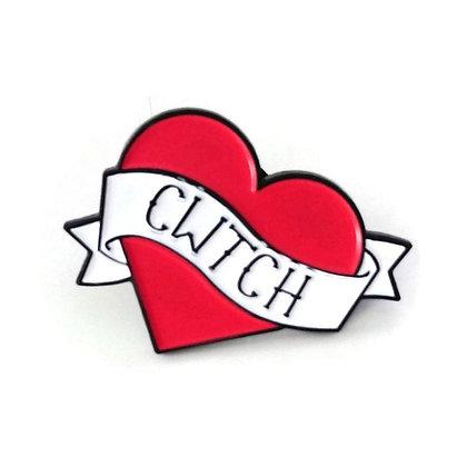 Brooch / Badge / Pin - Enamel - Heart - Cwtch / Cuddle x 6