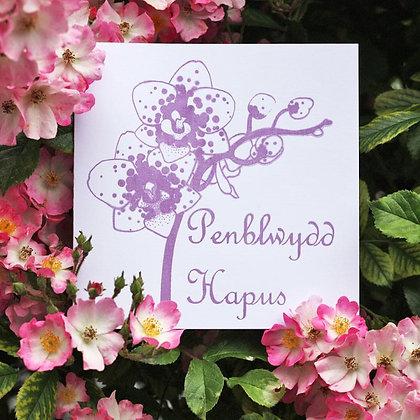 Card - Orchid - Penblwydd Hapus / Happy Birthday x6