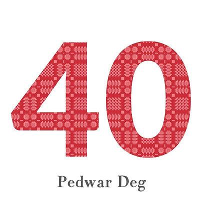 Card - Birthday / Anniversary - Pedwar Deg - 40 x 6