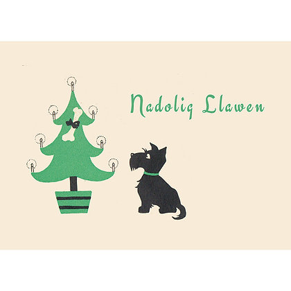 Card - Nadolig Llawen - Christmas Scottie Dog x 6