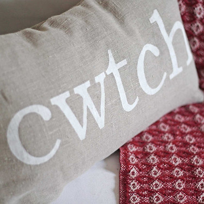 Cushion Cover - Welsh - Cwtch - Linen x 6