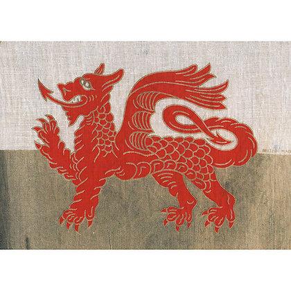 Card - Vintage Welsh Flag - Dragon x 6