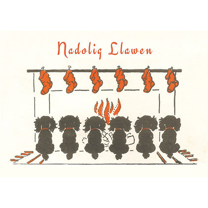 Card - Nadolig Llawen - Christmas Puppies x 6