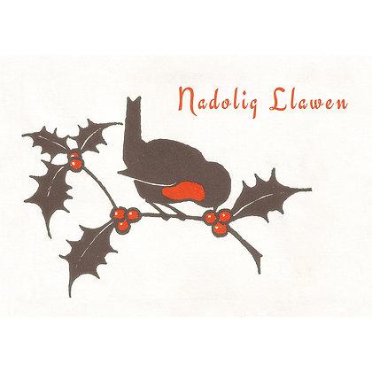 Card - Nadolig Llawen - Christmas Robin x 6