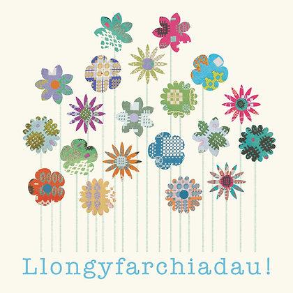 Card - Tapestry Flowers - Llongyfarchiadau / Congratulations x 6