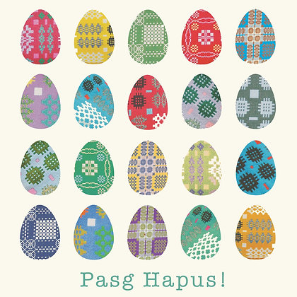 Card - Easter Eggs - Pasg Hapus / Happy Easter! x 6