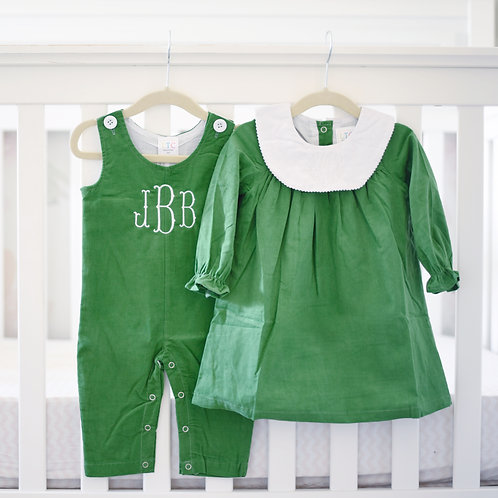 Green Corduroy Bishop Dress
