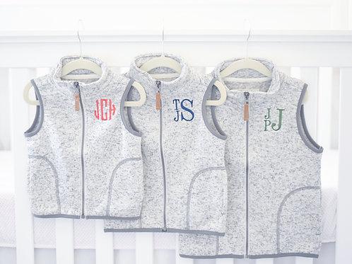 Gray Zip-up Fleece-lined Vest