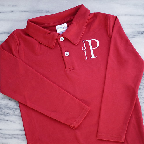 Long Sleeve Red Polo