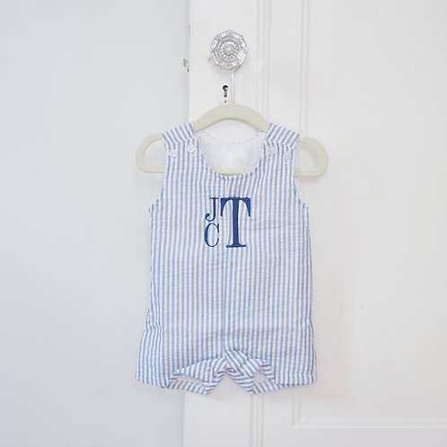 Navy Seersucker Shortalls