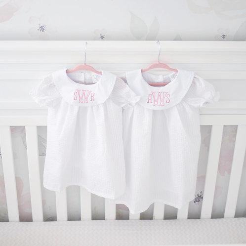White Seersucker Bishop Dress