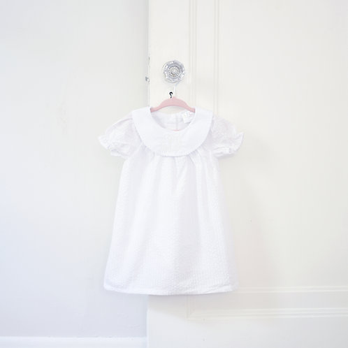White Seersucker Bishop Dress