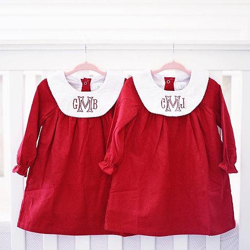 Red Corduroy Bishop Dress