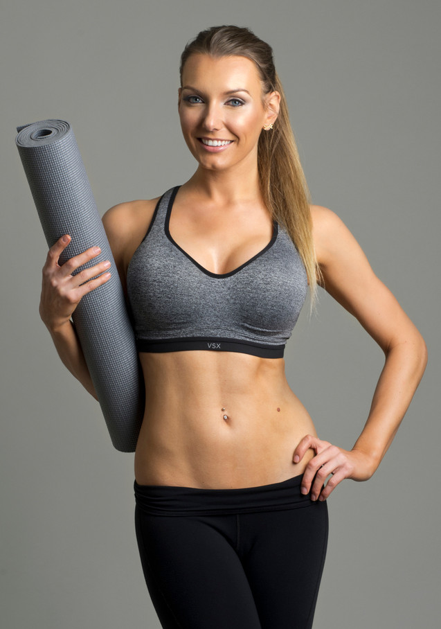 Samantha Kozuch in studio for her fitness photo shoot.