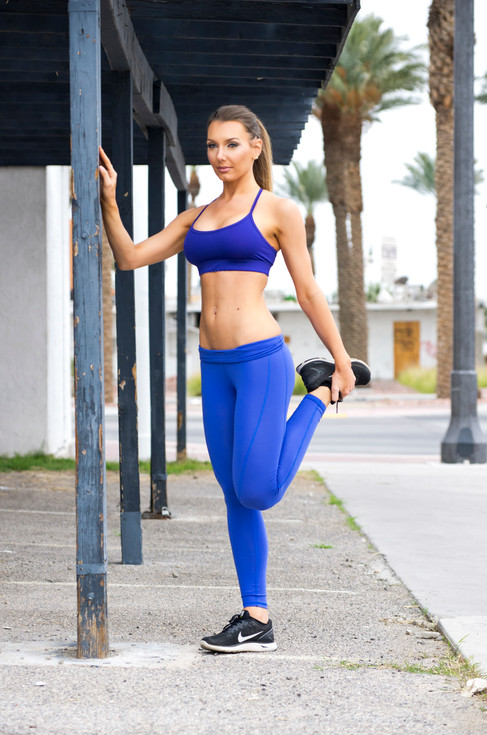 Samantha Kozuch in Downtown Las Vegas for her fitness photo shoot.