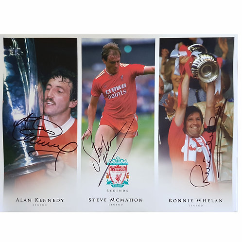 Liverpool Legends Signed Montage - Whelan, McMahon and Kennedy