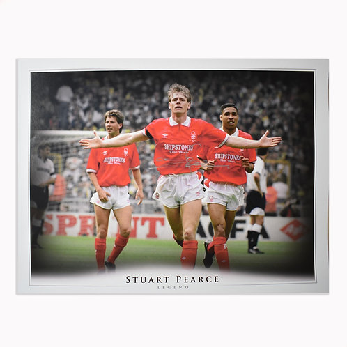 Stuart Pearce Signed Nottingham Forest Montage -Signed in Silver