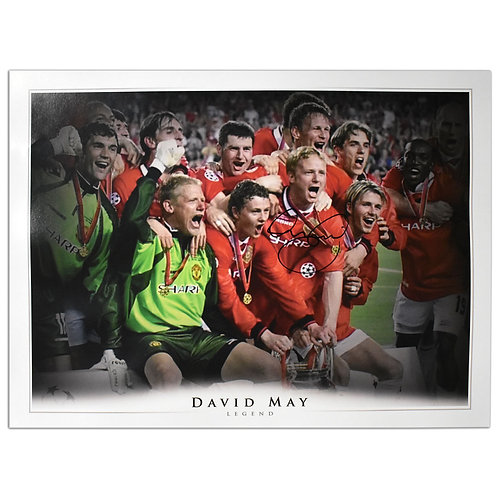 David May Manchester United Signed Champions League Picture