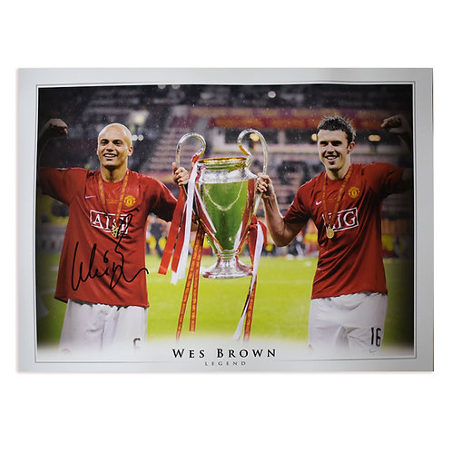 Wes Brown Signed Manchester United 2008 Champions League Picture