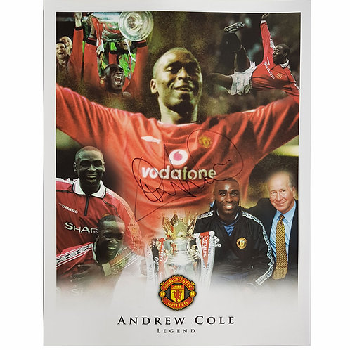 Andy Cole Man United Signed Montage