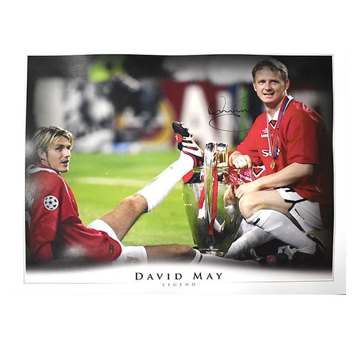 David May Manchester United Signed David Beckham Large Picture