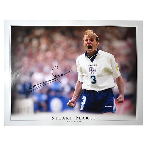 Stuart Pearce England Euro 96 Signed Picture - Signed in Black
