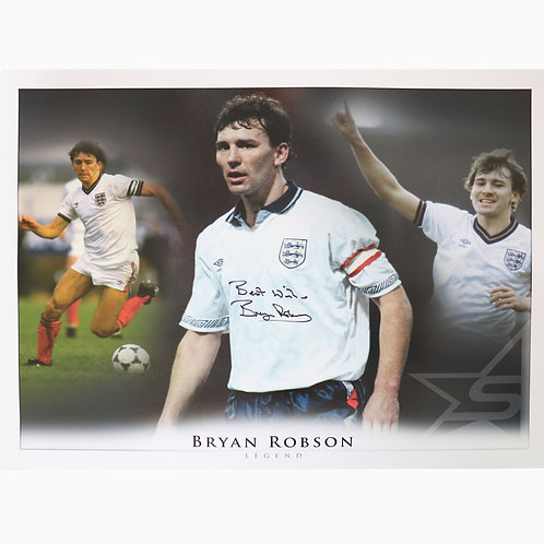 Bryan Robson England Captain Autograph Montage