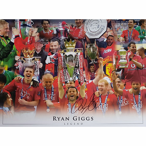 Ryan Giggs Trophies Man United Signed Montage