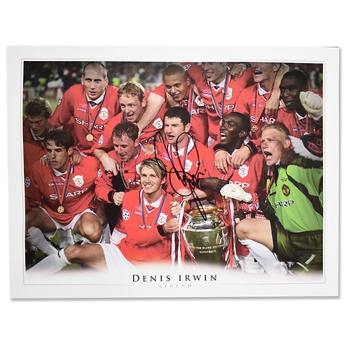 Denis Irwin Signed Manchester United Treble Celebration