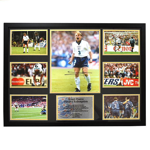 Stuart Pearce England Penalty Signed and Framed Montage