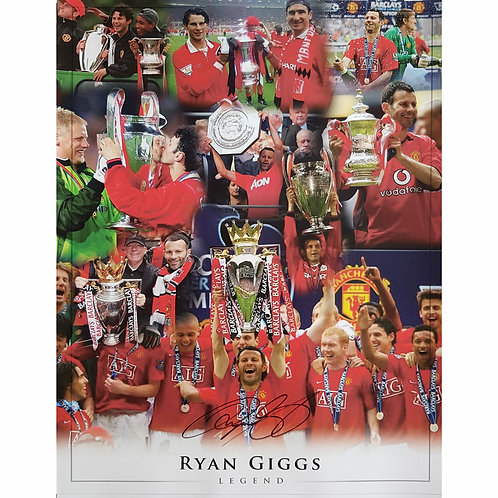 Ryan Giggs Man United Signed Trophy Montage