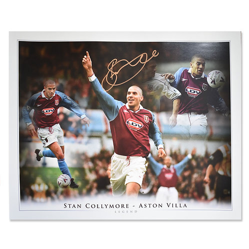 Stan Collymore Aston Villa Signed Montage